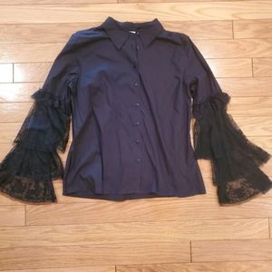 Newport News Black Blouse with Lace Sleeves
